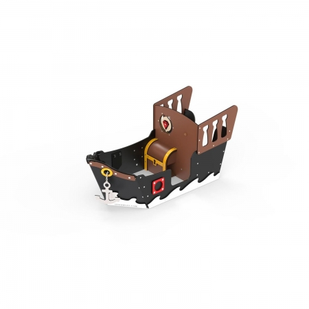Small ship with black and brown walls